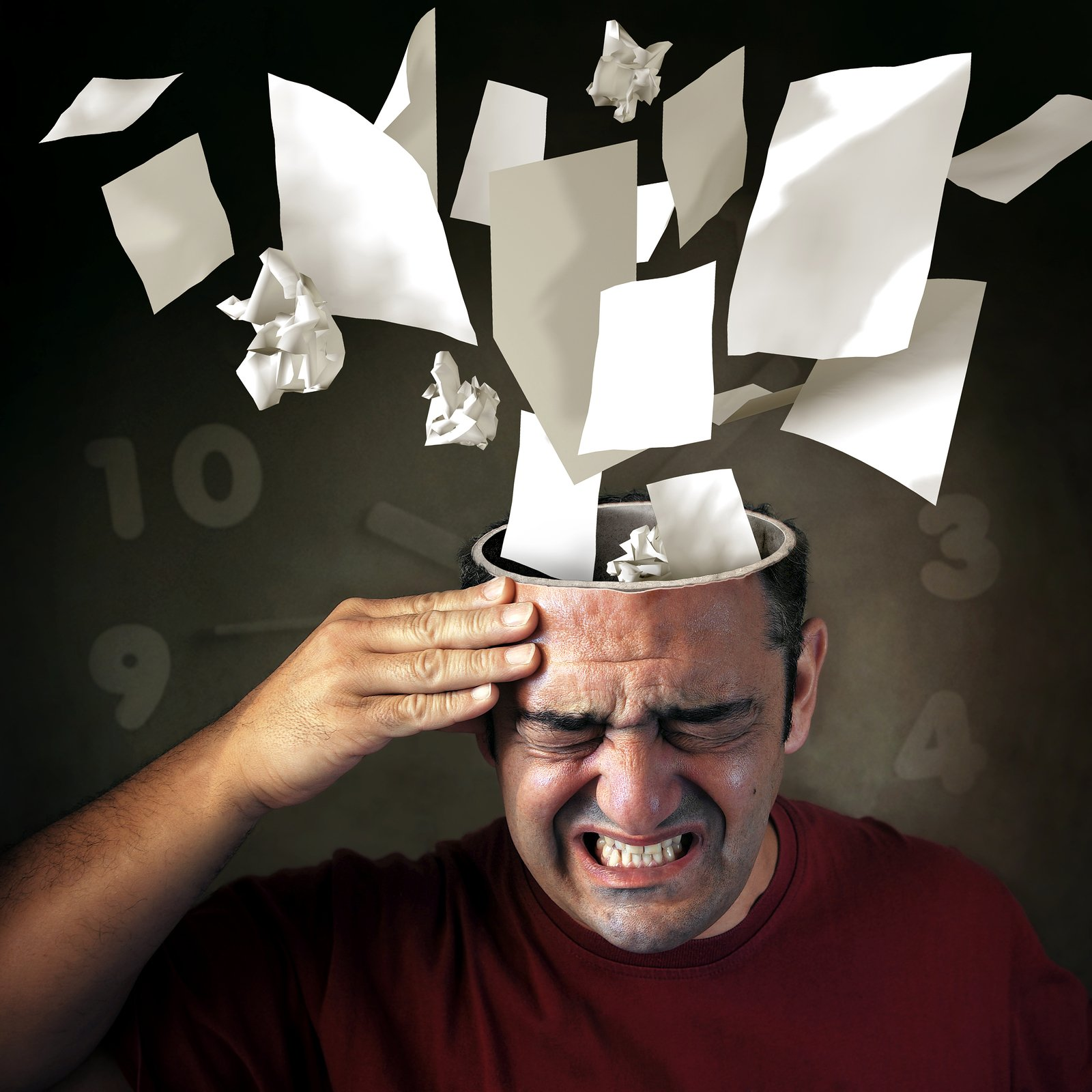 Man with hand to his head, which is open with papers, numbers and wads of paper flying out of his brain. He looks like he needs skills for coping with stress and stress management. Stress counseling in mountainside, NJ 07092 & and stress management in westfield, nj 07090. You can get online counseling for stress management in New Jersey here!