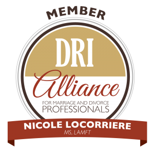 Badge for the DRI Alliance of Discernment Counseling Professionals with Nicole Locorriere, LMFT for couples on the brink of divorce in Mountainside, NJ. You can get discernment counseling in New Jersey with marriage counseling in Westfield, NJ at Mountainside Counseling Center in NJ 07092 & 07090