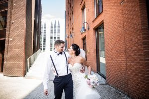 Bride and groom walking in the city, wedding day, marriage counseling in Mountainside, NJ. Finding the best marriage counseling in New Jersey doesn't have to be hard. Read from LMFT marriage counselor Nicole here! 07092